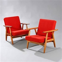 ge 240 easy chairs ([pair) by hans j. wegner